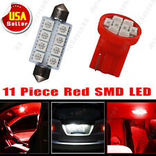 "11PCS Pure Red LED Lights T10 Tag + 6411 Dome Map 1.72"" For Interior Package Kit"