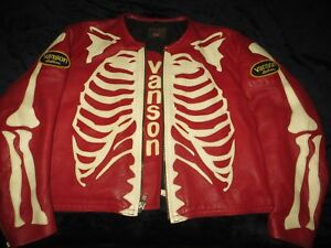 841b259b1628 Image is loading Vanson-Red-Bones-Skeleton-Leather-Motorcycle-Riding-Jacket-