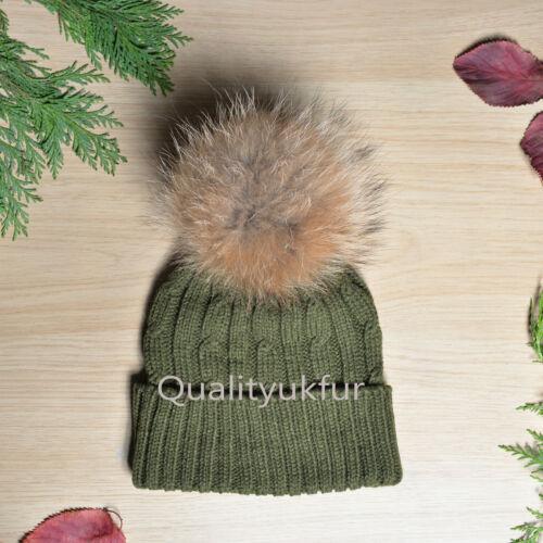 Véritable fourrure raton laveur 18-24 cm pompon tricoté bonnet beanie