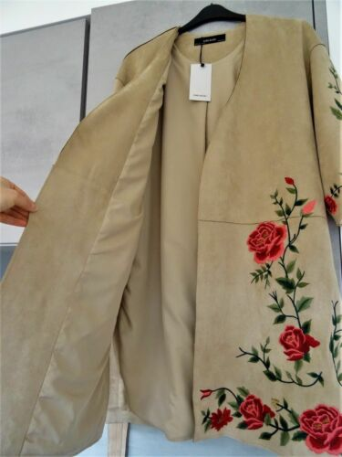 L Wrap Zara Coat ricamato Taglia Kimono Effetto Beige scamosciato Jacket Style BxIqrvaIw0