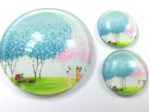 3 él vidrio cabuchons set 1 x 25mm /& 2 x 12mm árbol #199