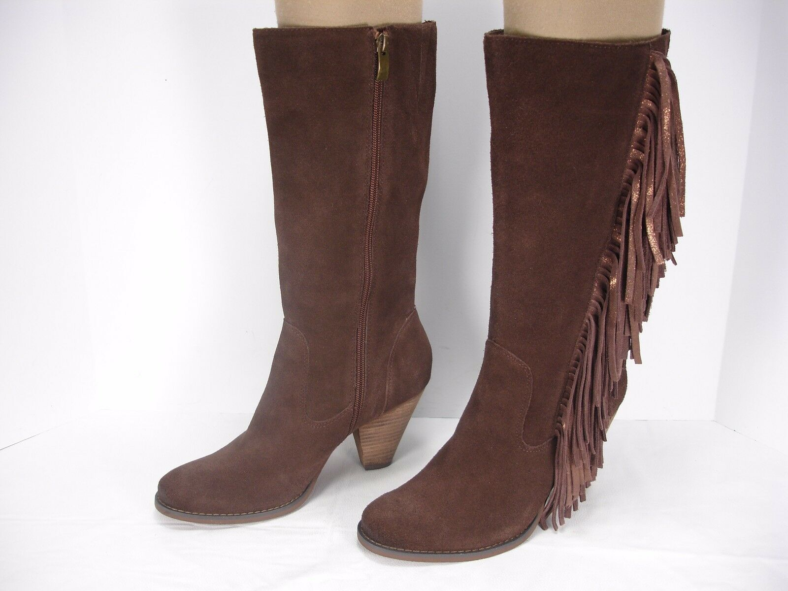 REBA COWGIRL BROWN SUEDE FRINGES SIDE ZIP MID-CALF WESTERN BOOTS WOMEN'S 7.5