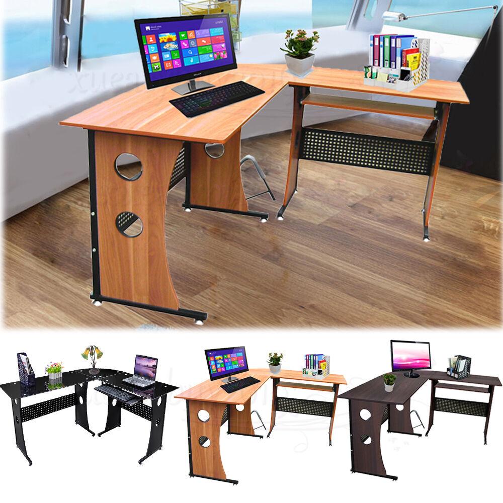 home office l shape corner computer desk keyboard shelf workstation beech xe ebay. Black Bedroom Furniture Sets. Home Design Ideas