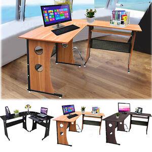 Home office large l shape corner computer desk with - Corner desks for home ...