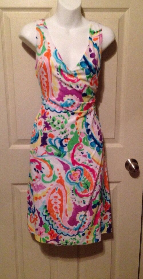 Ralph Lauren Bright Multi-Farbe Paisley Weiß Surplice Faux Wrap Dress Sz 4