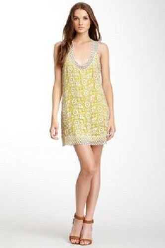 MADISON MARCUS Nordstrom mini dress S yellow beach boho wedding LACE new  295