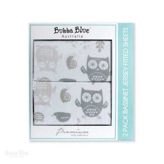Bubba Blue - Mod The Owl Jersey Bassinet Fitted Sheets 2 Pack