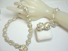 Vintage .925 Sterling Silver Necklace, Bracelet & Earring Set Weight 105.8 gr