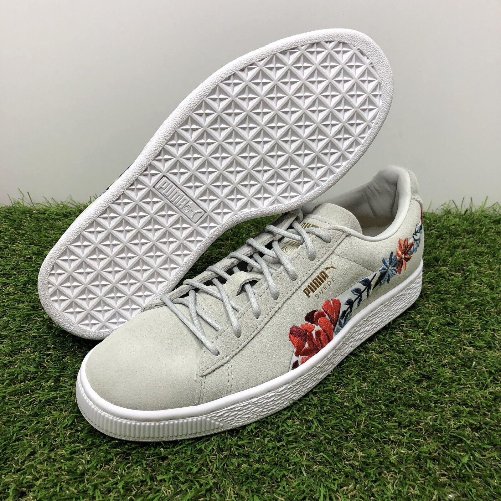 Puma Suede Velvet Hyper Embellished Floral 50th Womens 366124-02 Grey shoes Sz 8