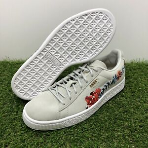 Details about Puma Suede Velvet Hyper Embellished Floral 50th Womens 366124 02 Grey Shoes Sz 8