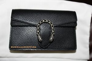 NWT GUCCI DIONYSUS SUPER MINI CHAIN BAG BLACK LEATHER ... a28d1d3ef26f
