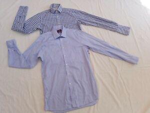 TM-Lewin-amp-Moss-ESQ-HOMME-a-manches-longues-Smart-shirts-15-5-Cou-X-2-Paquet-Bleu