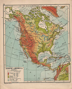 1935 MAP ~ NORTH AMERICA PHYSICAL ~ ROCKY MOUNTAINS MEXICAN PLATEAU ...