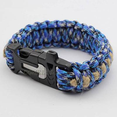 9'' Survival Paracord Bracelet +Whistle/Ferrocerium Rod/Scraper/Hemp twine Ocean