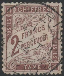 FRANCE-STAMP-TIMBRE-TAXE-26-034-TYPE-DUVAL-2F-MARRON-1884-034-OBLITERE-TB-A-VOIR