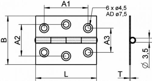 Scharnier Edelstahl A2 gestanzt  50 x 50 ARBO-INOX