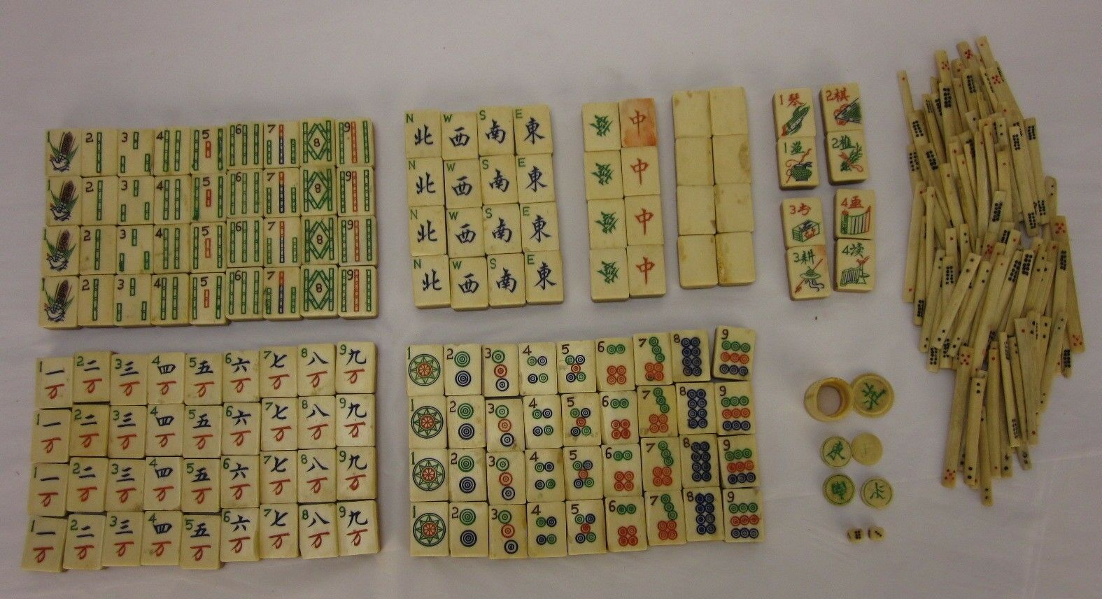 Antiguo Bambú & Bone Hueso mAh Jongg Azulejos con palos de puntuación
