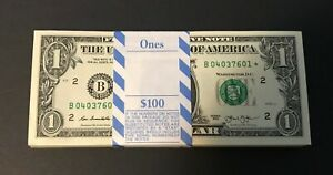 RARE ✯ 1993 STAR NOTE $1 One Dollar Bill Crisp Consecutive UNC BEP Pack New York