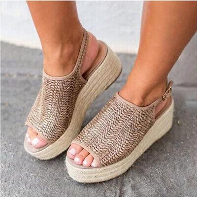 Womens Weave Slingbacks Sandals Breathable Platform Peep Toe Casual Buckle Shoes