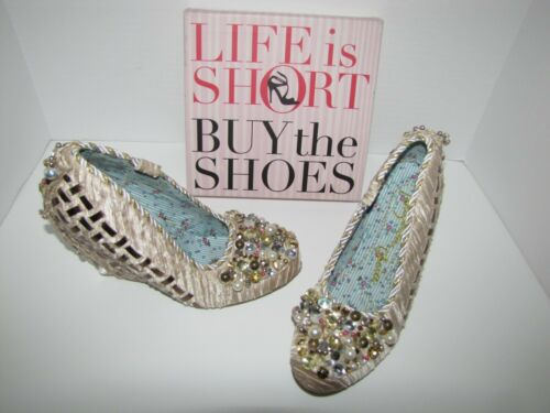 Irregular Choice Beige Beaded Rhinestone Wedges -8