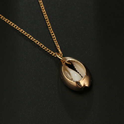 Women Girls Beach Sea Shell Cowrie Pendant Gold Chain Vintage Necklace Jewelry