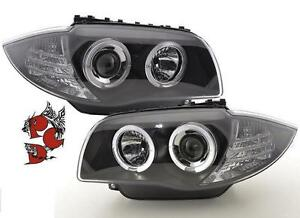 ANGEL-EYES-SCHEINWERFER-BMW-E81-E87-04-11-1er-BLACK-LED-STANDLICHT-RINGE-SATZ