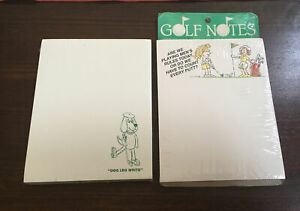 New-2-Vintage-GOLF-Paper-Pads-GOLF-NOTES-amp-GOLF-PEOPLE-Sealed-100-Sheets-Humor