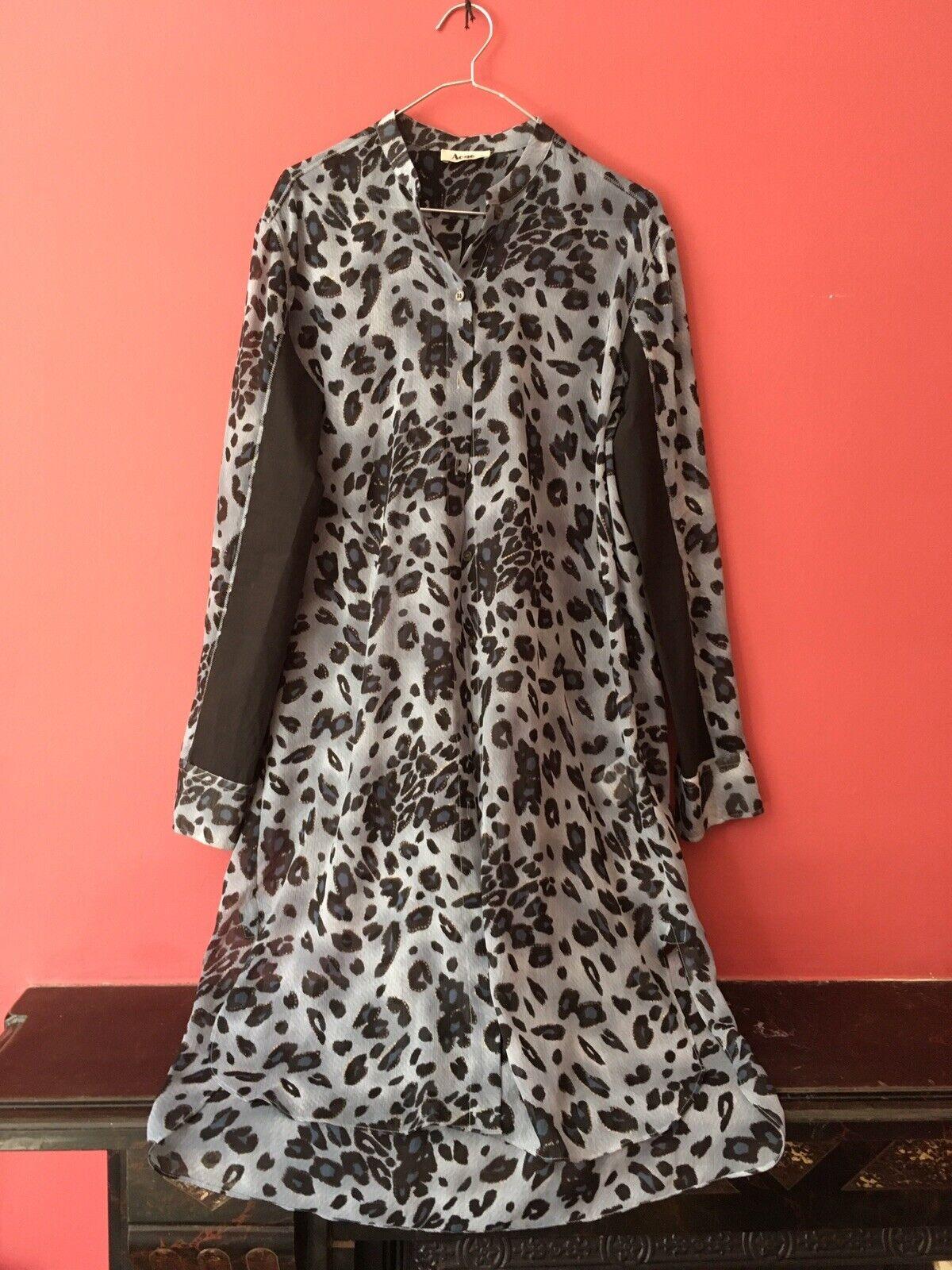 Acne studios Robe Chemise Sheer bleu imprimé léopard noir coton 38 petit