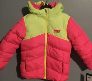 Nike Girls Youth Kid Pink Volt Coat Puffer Bomber Size 5 Toddler ... 796f33503