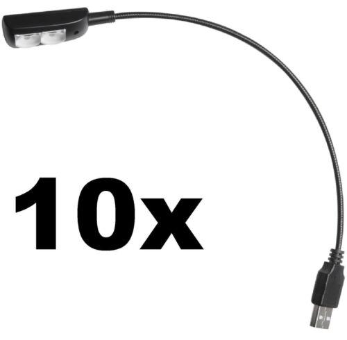 10x Superhelle LED USB Schwanenhalslampe Leselampe Flexilight Minilight Lampe