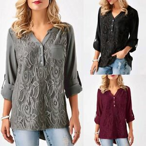 Fashion-Women-039-s-Ladies-Summer-Loose-Chiffon-Tops-Long-Sleeve-Shirt-Casual-Blouse