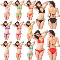 Sexy Adjustable Swimwear Set Bikini Push-up Halter Top+Bottom Swimsuit-11 Colors