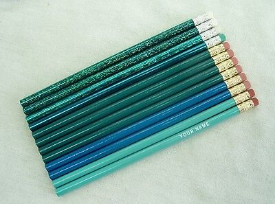 "24  ""Shades of Turquoise-Teal"" Personalized Pencils w/Glitzy"