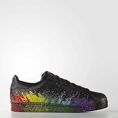Adidas Superstar LGBT Pride Pack BLACK Sizes 3.5 to 10 BB1687 Rainbow WoW