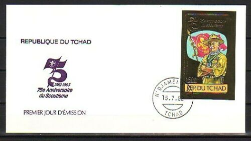 Chad, Scott cat. 412a. 75th Scout Anniv. IMPERF Gold Foil on a First Day Cover.