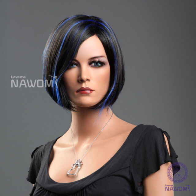Black Blue Hights Female Wigs Short Straight Hairpiece Vogue Full Lace Light