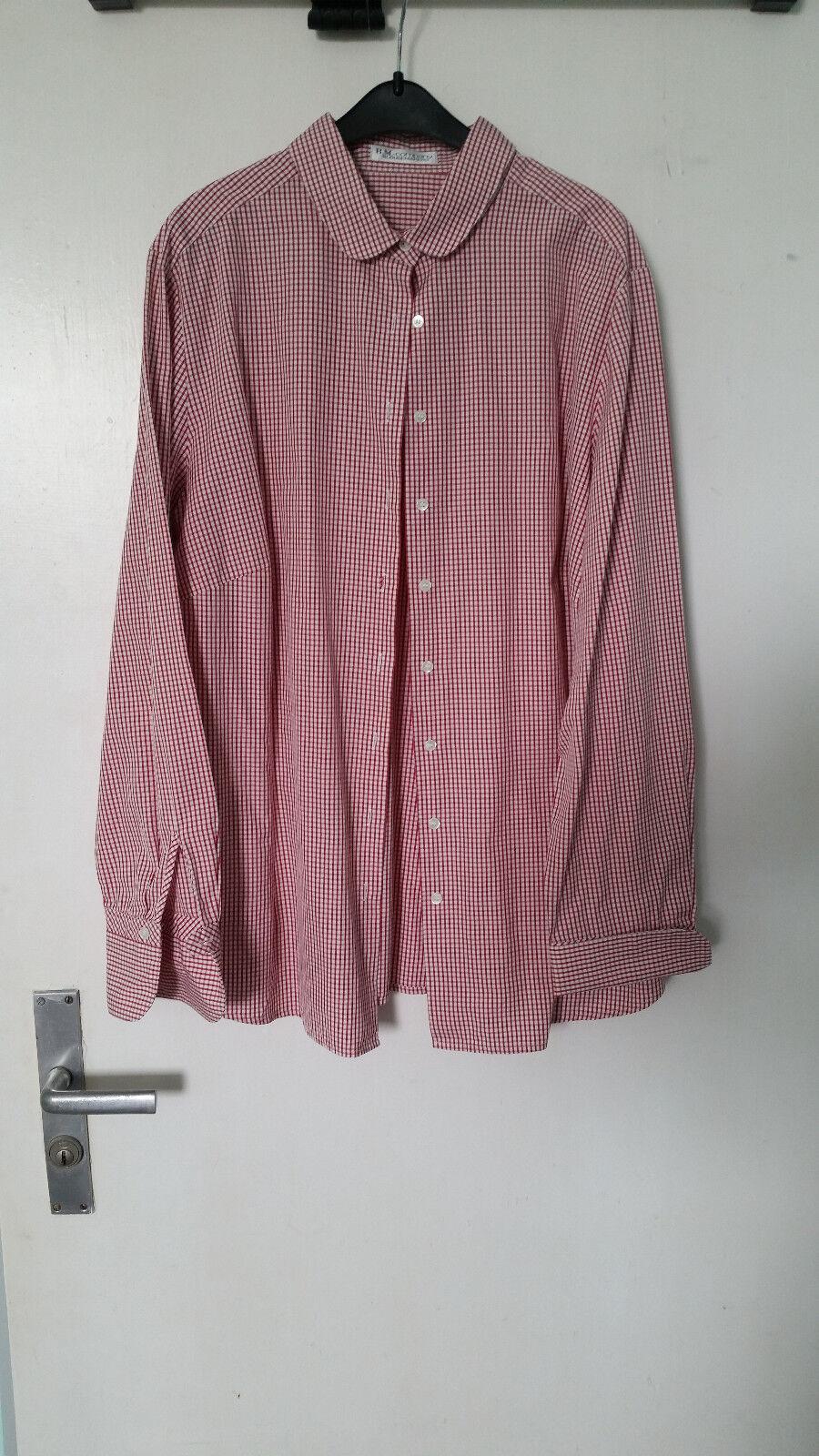 B.M.-Company Damen Blause Hemd l Größe 44 l Rosarot-weiß l kariert l Blousemakers