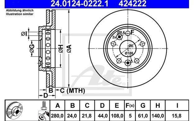 ATE Juego de 2 discos freno 280mm ventilado para RENAULT KANGOO 24.0124-0222.1