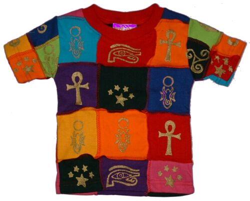9 anni Rainbow Patchwork Bambino T-shirt commercio equo e solidale susumama nepal unisex 6 LAV