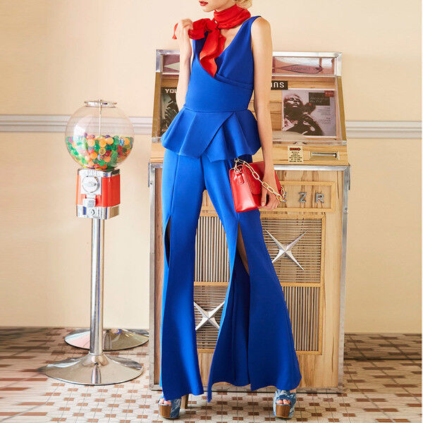 3fcaec4ae1 Abito tuta intera blu elettrico scollo elegante elegante elegante ...