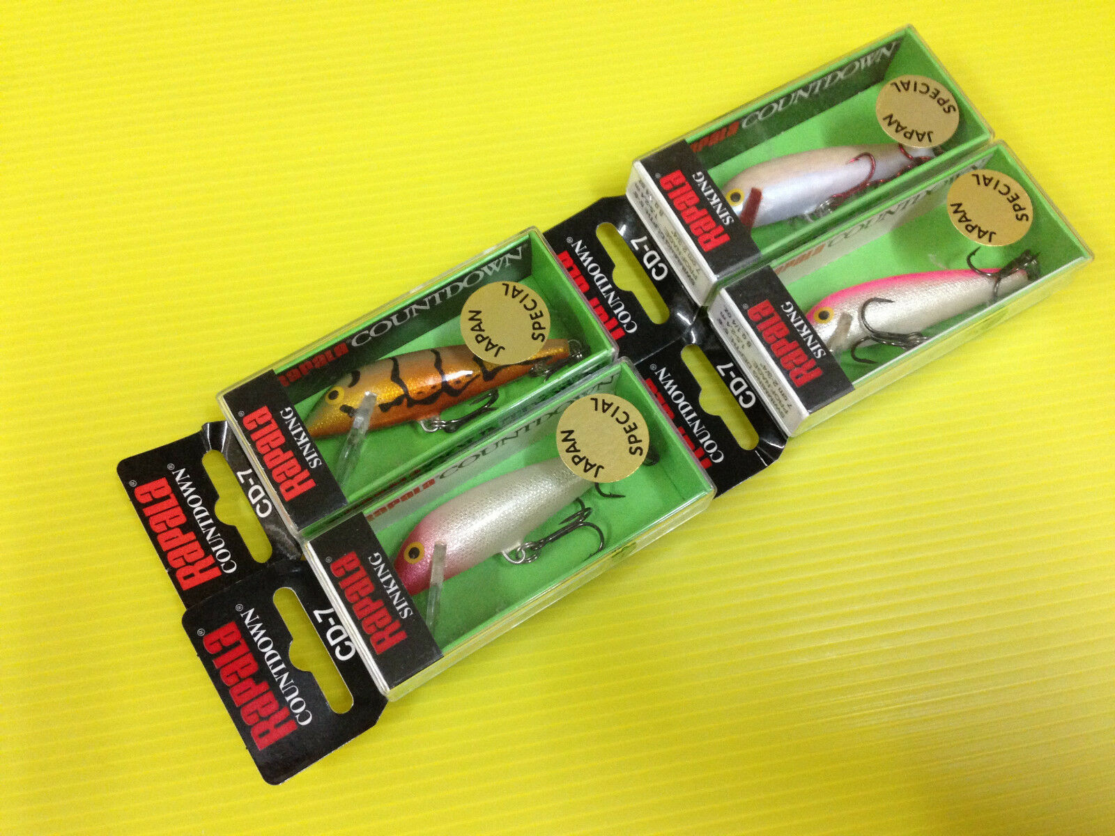 Lot A of Four  Rapala Countdown CD-7 in 4 Japan Special colors Minnow Lures.  support wholesale retail