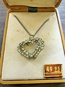 c-1950-039-s-Vintage-SARAVEL-Rhinestone-Double-Heart-18-034-Chain-Necklace-Orig-49-95