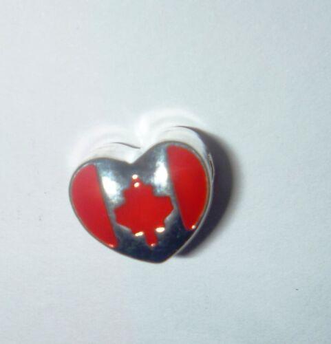 European Bead CANADA MAPLE LEAF HEART  Charm Bead AUS Seller