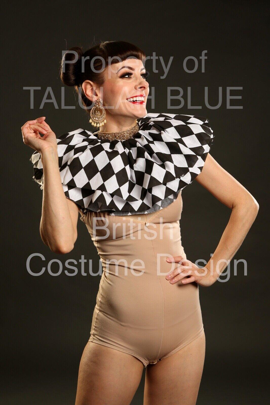 Cotton Check Black and White circus neck ruff, pierrot clown costume fancy dress
