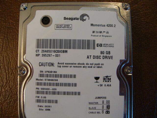 "Seagate ST980829A 9AH433-020 FW:3.05 80gb 2.5"" IDE Hard Drive"
