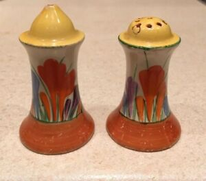 Clarice-Cliff-Crocus-Muffineer-Salt-And-Pepper-Shakers