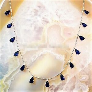 AAA-QUALITY-925STERLING-SILVER-HANDMADE-JEWELRY-17-INCHES-BLUE-SAPPHIRE-NECKLACE