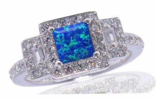 Blau Feuer Opal Prinzessin Klar Zirkonia Sterlingsilber Mode Ring