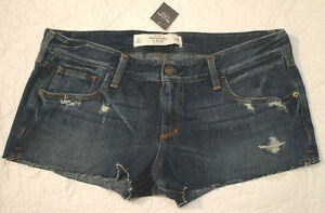 a2bdcc97ca2 NWT Abercrombie Fitch Joanna DESTROYED Dark Denim Jean Shorts Womens ...