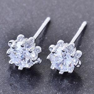 10K-White-Gold-Filled-GF-Cute-CZ-Sunflower-Stud-Earrings-Earings-7mm-Diam